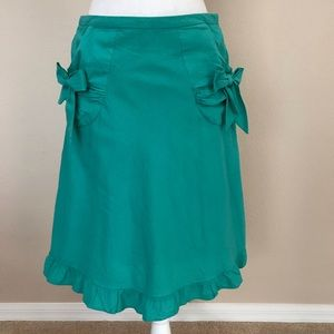 Anthropologie Elevenses Bow Skirt